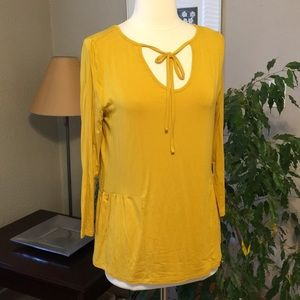Old Navy Mustard Yellow Gold XS Poet Jersey Top
